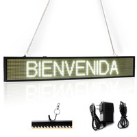 82CM EU White P5 SMD Led Sign Programmable Scrolling Message LED Display Board with Metal Chain Time countdown display