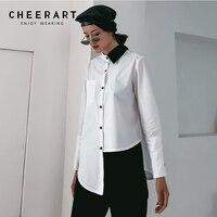Cheerart Designer Asymmetric Blouse Women White Shirt Long Sleeve High Low Top Spring Blouses Color Block Fashions