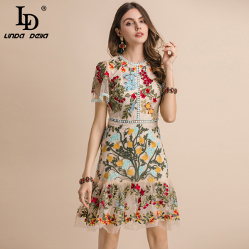 LD LINDA DELLA New 2020 Fashion Runway Summer Dress Women's Flare Sleeve Floral Embroidery Elegant Mesh Hollow Out Midi Dresses