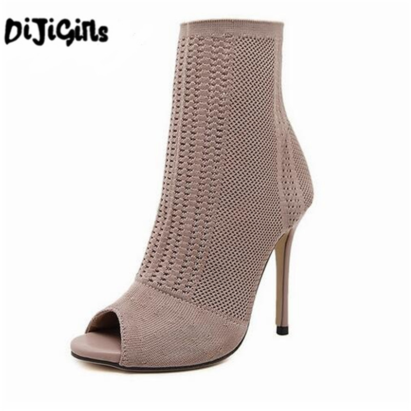DiJi Girls Women Boots 2018 Fashion Europe Knitting Peep Toe Socks Bootie Hollow Thin Hi ...