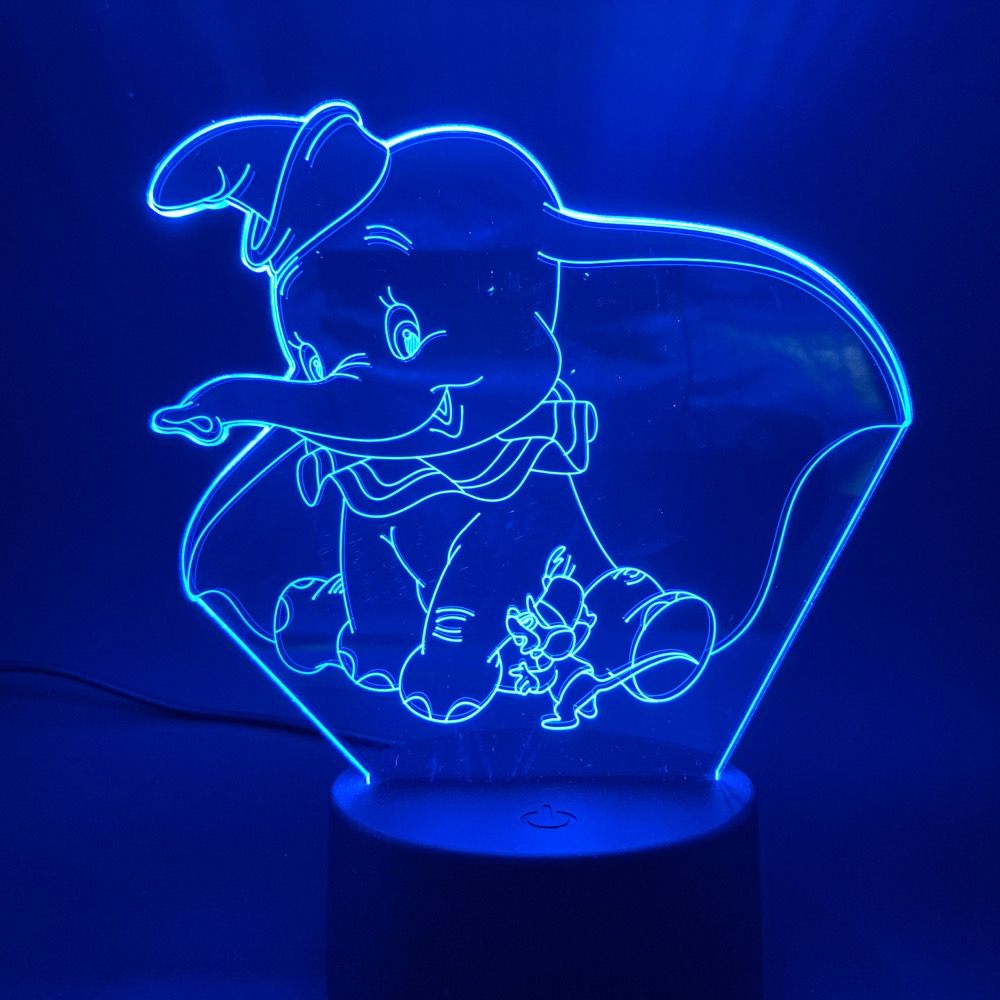 3D LED Night Light Lamp Dumbo Cute Baby Nightlight Color Changing Indoor Decoration Kids Girl Boys Child Gift 3d Lamp Elephant