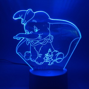 3D LED Night Light Lamp Dumbo Cute Baby Nightlight Color Changing Indoor Decoration Kids Girl Boys Child Gift 3d Lamp Elephant(China)