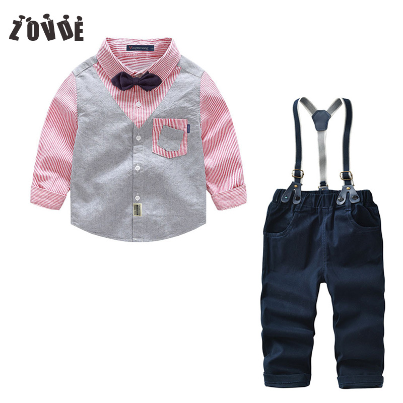 Toddler Boys Clothing Set Striped Shirt +Overalls 2pcs Christmas Outfits Children Kid Clothes Suits Formal Wedding Party Costume boys clothing set striped vest pant shirt suits formal outfits kids school uniform baby children wedding party boy clothes sets