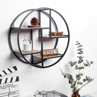 Retro Round Wall Unit Wood Metal Hanging Shelf Office Sundries Art Storage Rack Home Wooden Decorative Craft Holder 4 Partitions