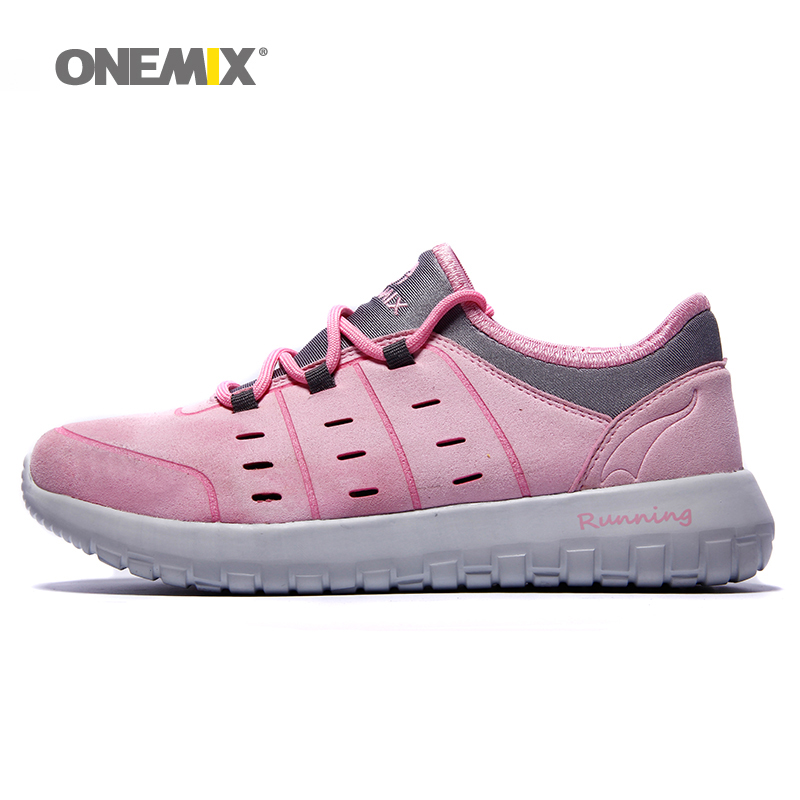 Onemix Men Breathable Spring Summer Leather Shoes for Jogging Walking Trekking Anti-Slip Shoes Lace Up Sneakers free shipping waterproof hiking shoes breathable men sneakers lace up anti slip outdoor travel walking sports shoes mans footwear xyd118