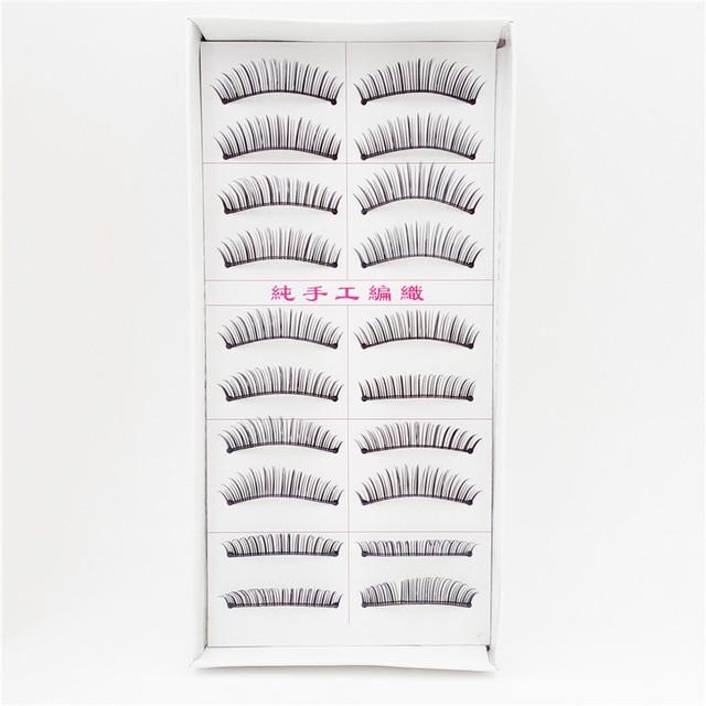 12 pcs 10 par professional beauty cílios postiços natural a longo tira completa cílios falsos cosméticos