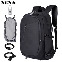 XQXA Laptop Backpack Anti Theft Backpack with Lock 15.6 Slim Laptop Rucksack with USB Charging for College Student Men Women
