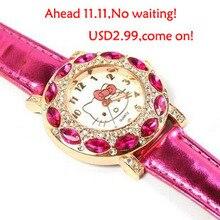 Free Shipping Top Fashion Brand Hello Kitty Quartz Watch Children Girl Women Leather Crystal Wrist Watch Wristwatch Cut Lovely