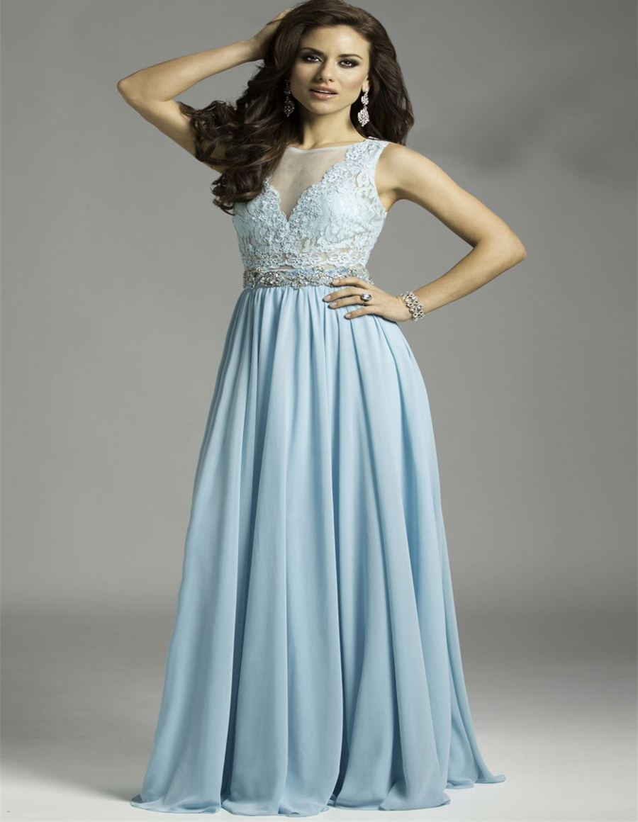 Elegant light blue lace long evening dresses 2015 party dresses ...