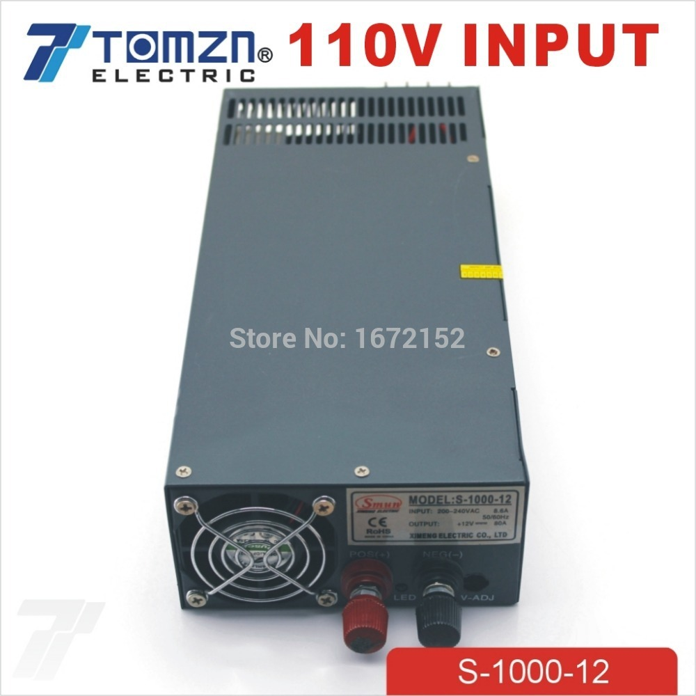 1000W 12V 80A 110V input Single Output Switching power supply for LED Strip light AC to DC 1200w 12v 100a adjustable 220v input single output switching power supply for led strip light ac to dc
