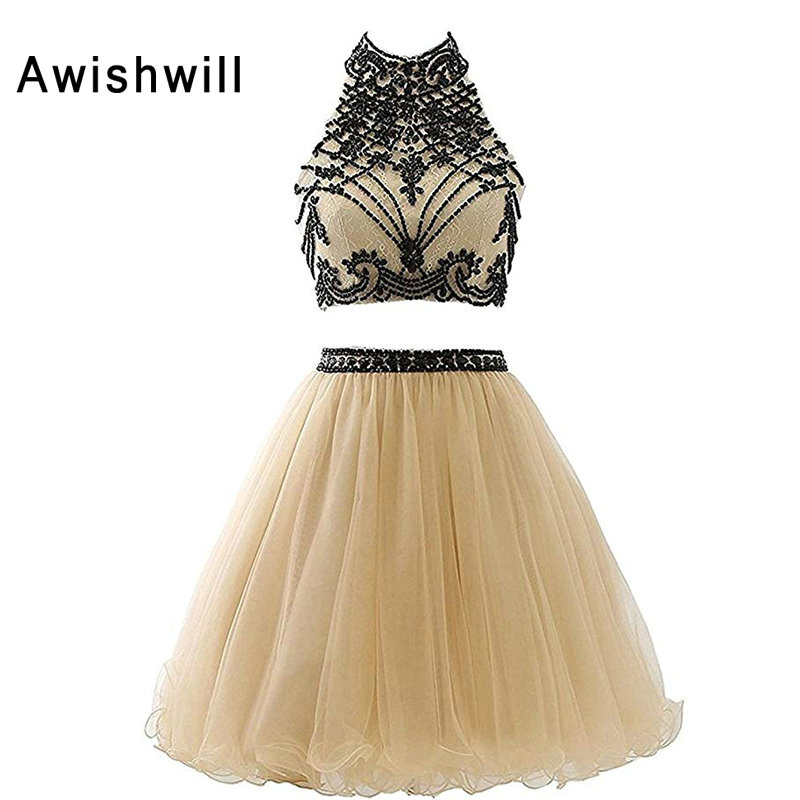 Real Pictures Champagne   Cocktail     Dresses   Two Pieces 2019 Beadings Lace Tulle Keyhole Back A Line Formal Party   Dress   Cheap