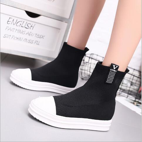 New 2018 Autumn Winter Women Boots Knitted Wedge Boots Fashion Shoes Woman Knitting Boots Female Women Ankle Platform Boots