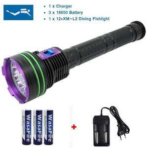 Image 1 - עמיד למים 12 x XM L2 20000 לום LED פנס צלילה מתחת למים מנורת לפיד 100m Scuba Diver Lanterna + 3*18650 Batery + מטען