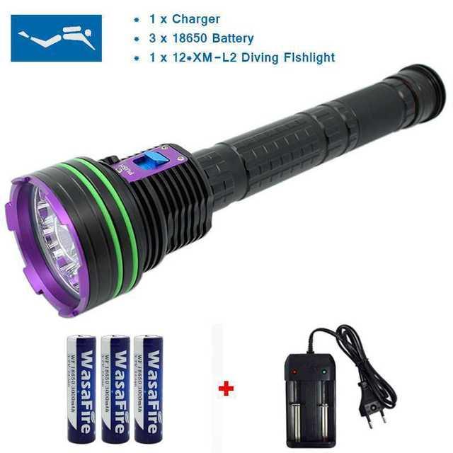 עמיד למים 12 x XM L2 20000 לום LED פנס צלילה מתחת למים מנורת לפיד 100m Scuba Diver Lanterna + 3*18650 Batery + מטען
