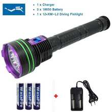 Linterna de buceo LED impermeable de 12 x XM L2 20000 lúmenes, linterna subacuática de 100m para buceo, Linterna + batería de 3x18650 + cargador