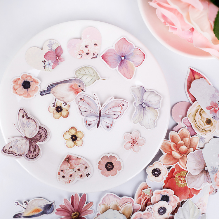 50pcs Watercolor Kawaii Bird And Butterfly Fresh Flower Plant Decoration Stationery Sticker Diy Ablum Scrapbooking Stationery