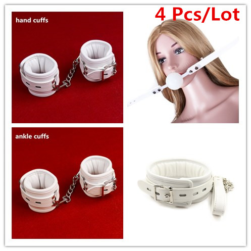 White PU Leather Sponge Padded Bondage Kit Hands Cuffs / Ankle Cuffs / Neck Collar /Mouth Gag BDSM Bondage Retraint Sex Toys Set nimh battery bt 32 charger bc 19b for topcon total station survey