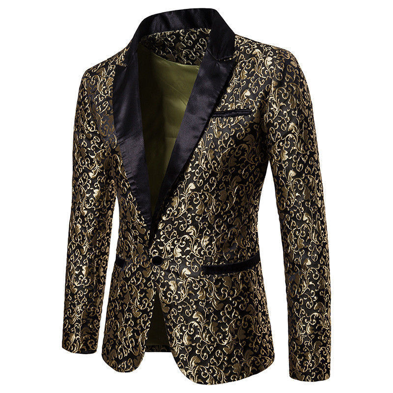 Slim Fit Blazer Men 2019 New Arrival Mens Floral Blazers Floral Prom Dress Blazers Elegant Wedding Blazer And Suit Jacket Men