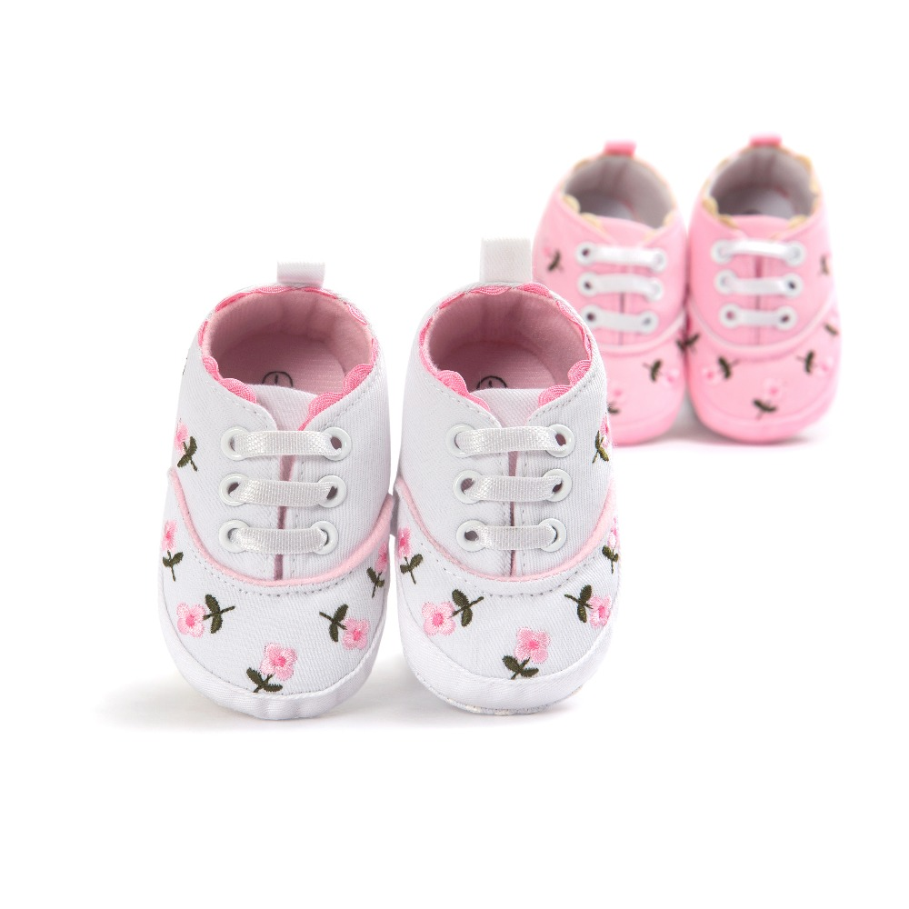 0 18month canvas newborn infantil baby boys girls flower shoes for baby first walkers lace up