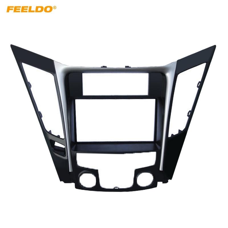 Cadre de Fascia 2Din de Radio DVD de réaménagement de voiture FEELDO pour Hyundai Sonata YF (Luxry Type LHD) garniture d'installation de tableau de bord de panneau de visage stéréo