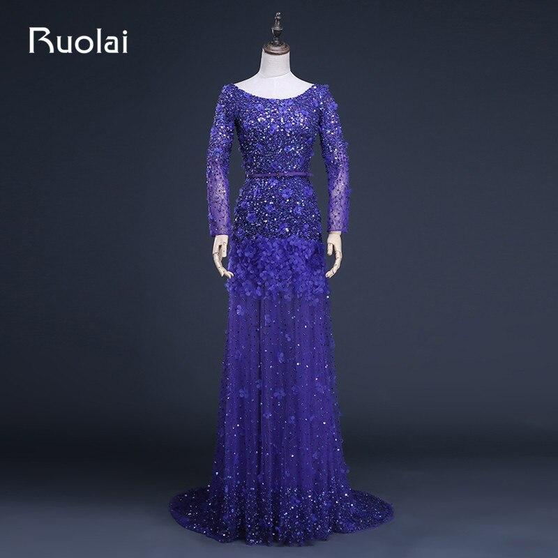 Photo réelle de luxe a-ligne Scoop Tulle perlé corsage balayage Train longues robes de soirée robe formelle Vestido Largo ASAFN15