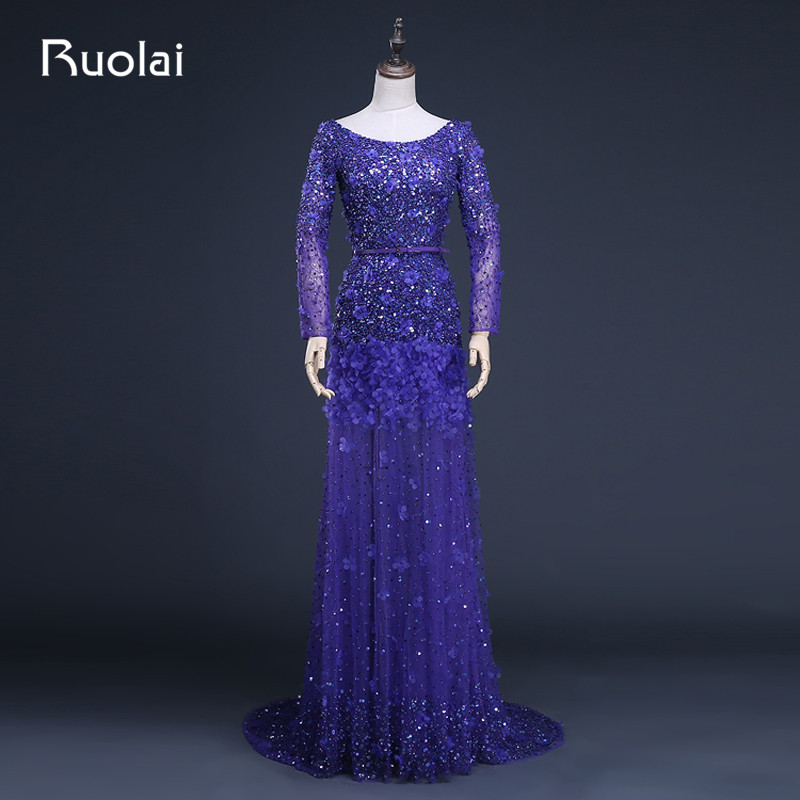 Real Photo Luxury A-Line Scoop Tulle Beaded Bodice Sweep Train Long   Evening     Dresses   Formal   Dress   Vestido Largo ASAFN15