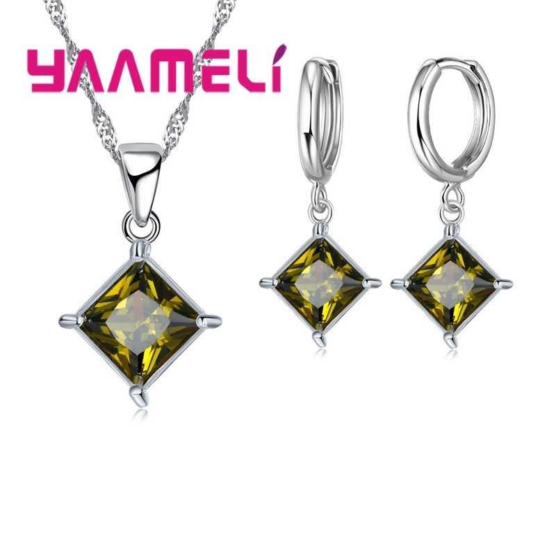 Recém chegados 925 puro cristal losango casamento conjuntos de jóias aaa cz strass colar pingente brincos para mulher