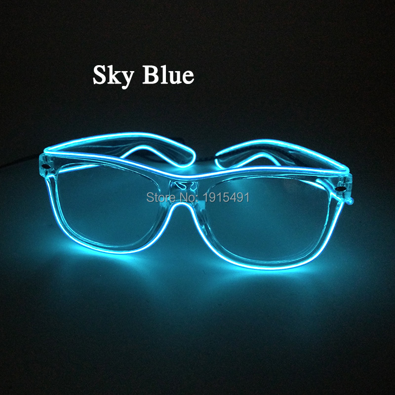 20Pieces Attractive Cosplay Neon Led Bulb Night Lamp Twinkling Eyeglasses Rave Concert Party EL Wire Rope Light Up Shine Glasses 3m neon el wire glowing string light