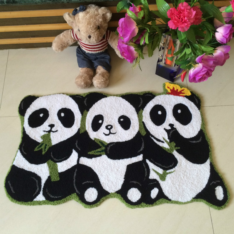 WINLIFE Chinese Style Three Lovely Panda Carpets Non-Sild Kid Rugs Decorating Floor Mats For Living Room/Bedroom/Hotel/Outdoor