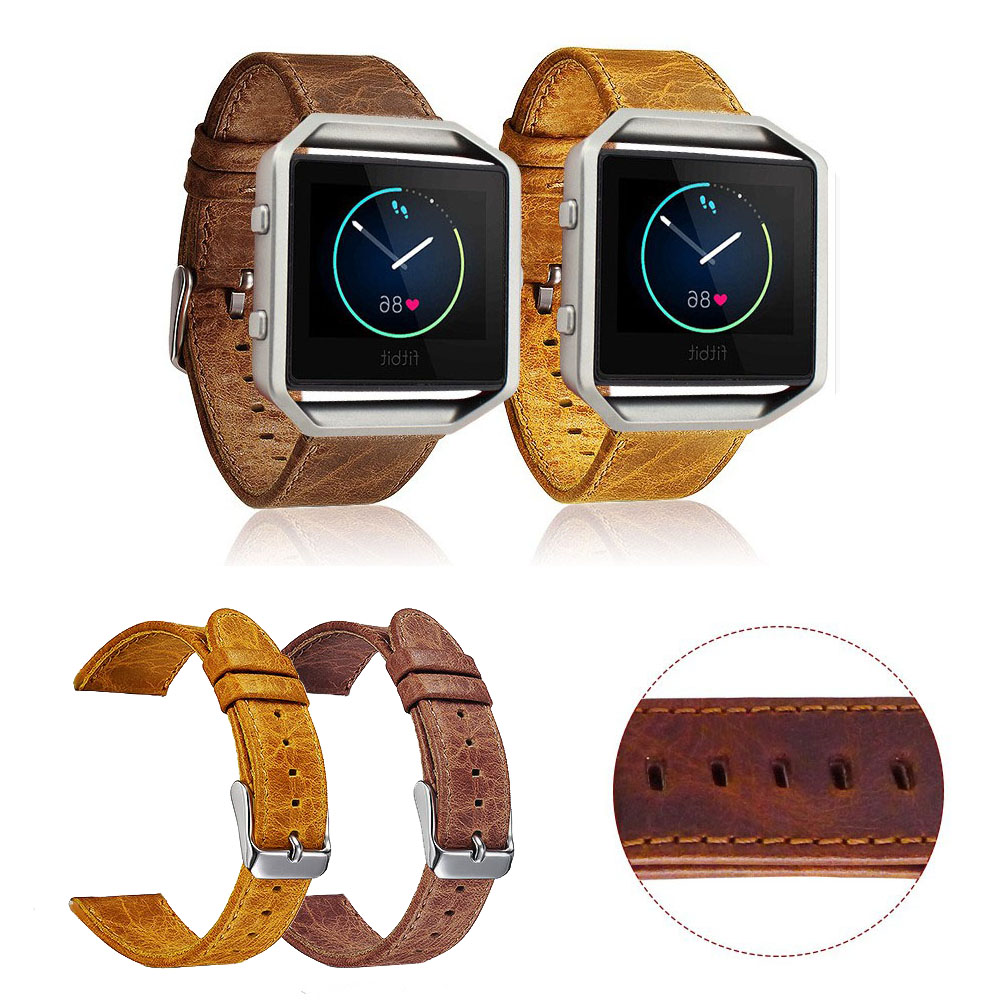 23mm Retro Brown Genuine Leather Strap For Fitbit Blaze Band Metal Buckle Bracelet Replacement Watch Band with Pins carlywet 23mm black 316l stainless steel replacement watch strap belt bracelet with case metal frame for fitbit blaze 23 watch