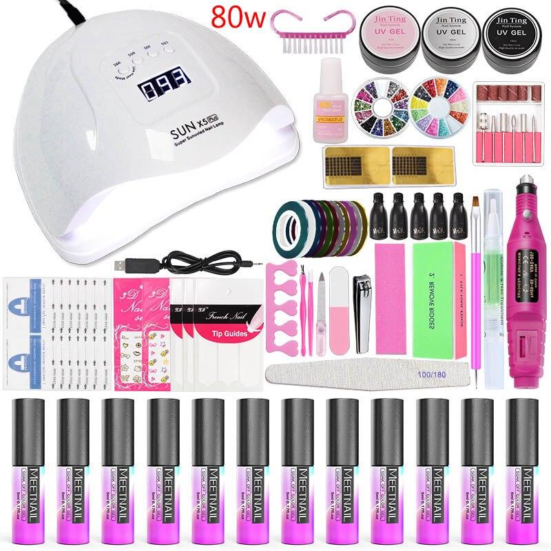 MeetNail Nail Art Set UV LED LAMP Dryer 10 Color 5ml Gel Nail Polish Set Kit Nail Tools Gel Varnish Lacquer Manicure Tools Kit