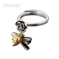 Two Tone 925 Sterling Silver Rose Flower Ring with Dragonfly Charm for Women Girls Adjustable Free Shipping