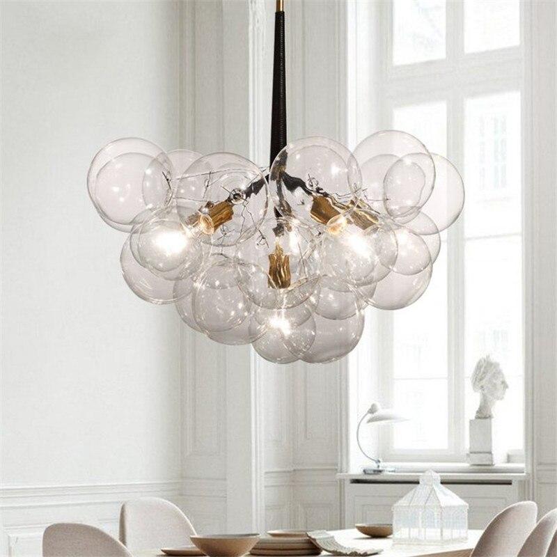 Moderne Pendentif Lumières Bulle Pendentif boule de Lampe Pour Cuisine Salle À Manger Monde Suspendus Lampe luminaire Lampes En Verre