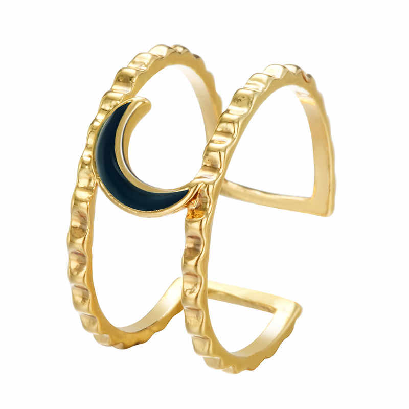 อินเทรนด์ Love Arrow Wave ผึ้งดวงจันทร์แหวนผู้หญิงฟ็อกซ์ค้างคาวปีกรอยเท้าหัวใจแปะก๊วย Knuckle Finger แหวนของขวัญวันเกิด bague