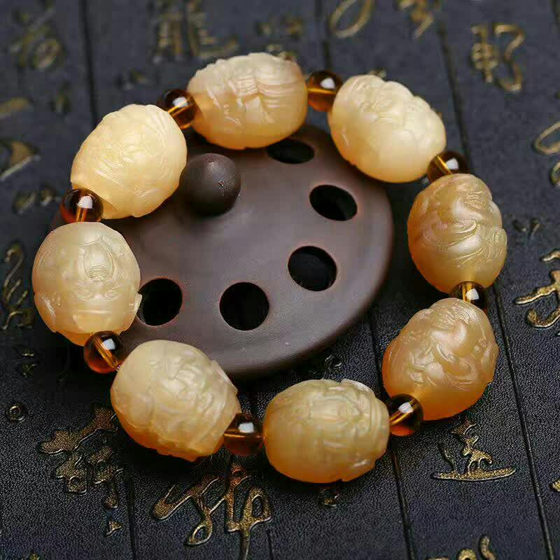 Handcrafted Buddha Statue Beads Bracelet Sheep Horn Lotus Beads Bracelet Lucky Symbol Beads Man Bracelet