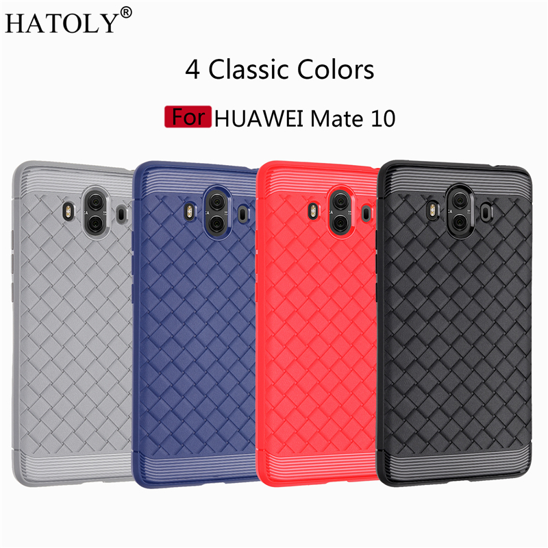 Hatoly для Fundas Huawei Коврики 10 случае Коврики 10 Коврики 10 новые тонкие BV weven Pattern Силиконовый чехол для телефона СПС huawei Коврики 10 Крышка