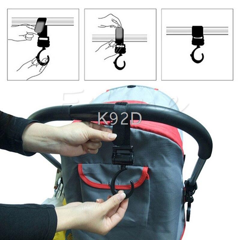 Multi Purpose Nylon Fastener Tape Baby Pram Stroller Pushchair Swivel Hanger Hooks 2PCS/SET J12