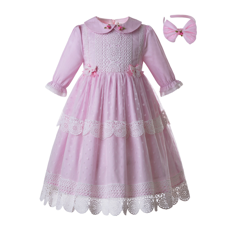 Pettigirl Wholesale New Spring Pink Dot Girl Flower Dress Lace Party Pageant Communion Long Dress Dress
