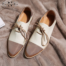 2019 Genuine Leather + Cloth Flat Shoes Women Oxfords Mixed Color Lace Up Soft Leather Shoes Woman Classic Shoes Free Shipping