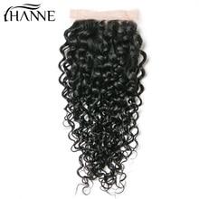 HANNE Волосы Бразильская водная волна Кружева Закрытие 130% Плотность человеческих волос Закрытие с Baby Remy Hair Closure Free Shiping