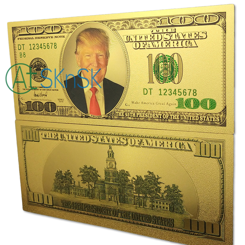 Wholesale 100pcs/lot 45th U.S. President Donald Trump Colorized $<font><b>100</b></font> <font><b>Dollar</b></font> <font><b>Bill</b></font> Gold Foil Banknote Paper Money Souvenir Gifts image
