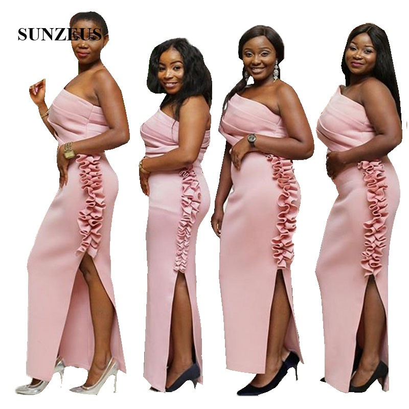 African Women   Bridesmaids     Dresses   One Shoulder Pink Long Wedding Party Gowns With Ruffles Side Slit Formal   Dress