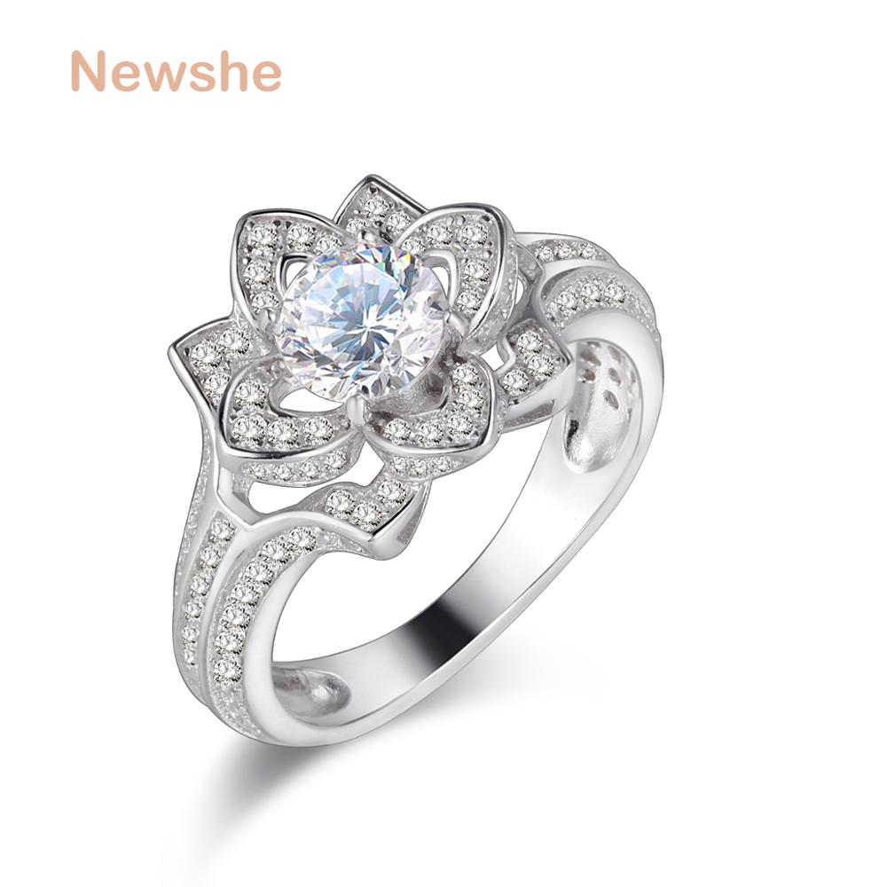 Newshe Wedding Ring Engagement Band Solid 925 Sterling Silver Flower Shape 2 Ct AAA CZ Elegant Trendy Jewelry For Women newshe 925 sterling silver rose gold color dangle drop earrings 6 ct red rhinestone heart shape aaa cz fashion jewelry for women
