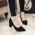 Velvet Work Shoes High Heel Pointed Toe Shallow Mouth Lady Pumps OL Women 2017 Spring High Heel Shoes