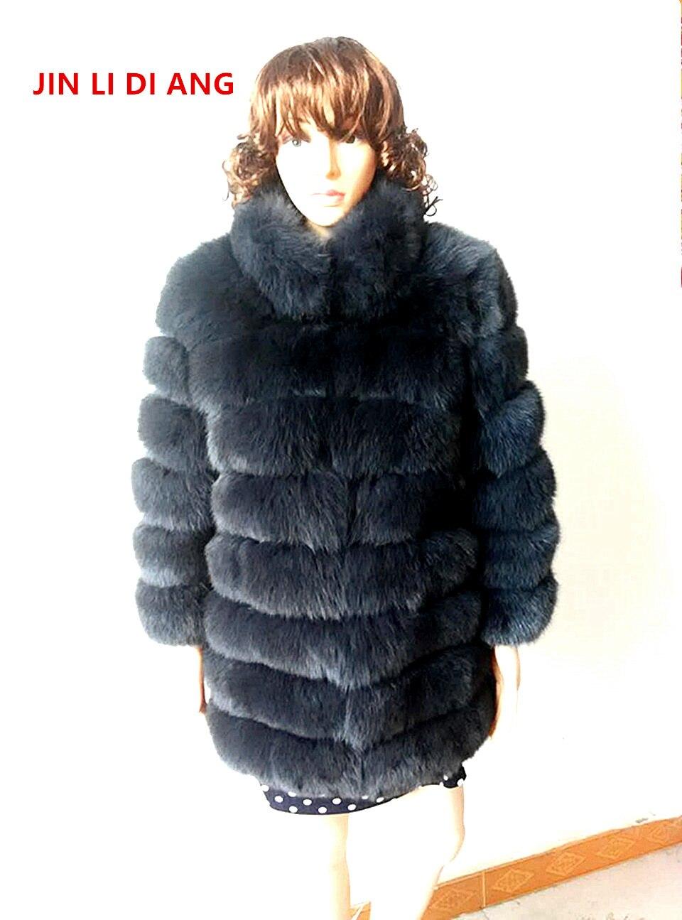 Jin Li Di Ang Femmes Naturel Véritable Réel Fourrure De Renard Manteaux hiver Trois Manches Trimestre Survêtement Chaud Épais Manteaux Gilet avec col