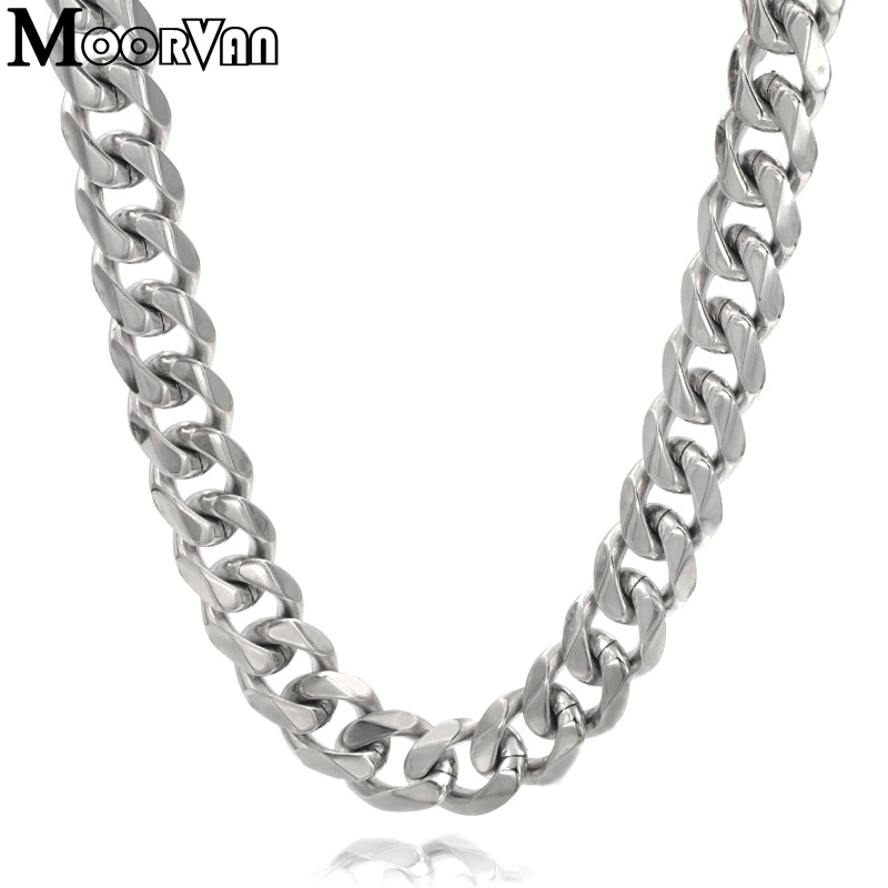 Moorvan 7mm/10mm/13mm men's necklace six flat curb buban stainless steel chain jewelry for party/gift cool punk man jewelry