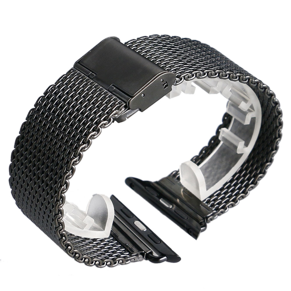 Full Stainless Steel For Original Apple Watch Band Black Silver Mesh For IWatch Strap High Quality 28mm 42mm black silver u shape aluminium alloy stand docking charger station holder for apple watch iwatch