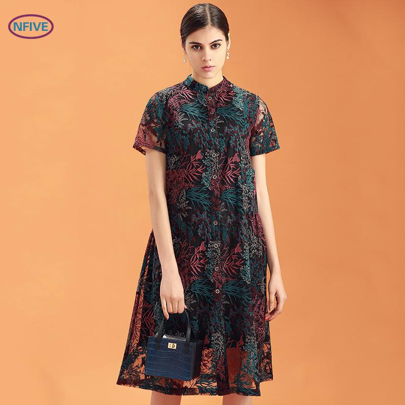 NFIVE marque 2017 nouveau été dames dentelle lâche robes à manches courtes femme mince grande taille robe de mode livraison gratuite