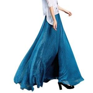 NEW Women Skirts Boho Maxi Solid Elastic Waist Tulle Long Skirt Evening Party Beach Casual pleated Summer skirt Faldas Mujer