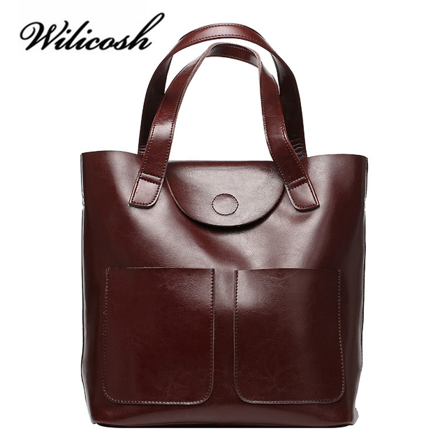 182118b43ceb US $49.08 47% OFF|Wilicosh Women Handbag Oil Wax Genuine Leather Top handle  Bags Large Capacity Tote Bag Female Shoulder Bags WBS093-in Shoulder Bags  ...